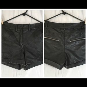 French Connection High Waist Faux Leather Shorts